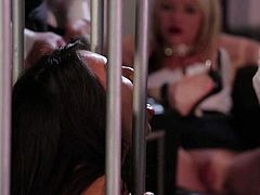 Asa Akira and Jessica Drake are two gorgeous women with nice boobs and sexy pink snatches. And they are good at cock sucking. They give head to lucky dudes behind the bars in this hot scene.