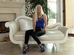 Skinny girl Jessie Volt with skim legs and long blonde hair is a charming porn star. She gives interview to let you learn more about her love for hard sex and deep ass fucking.