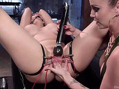 Angel is a naughty bitch with blonde hair and amazing tits, who has been strongly tied up and gagged. The tattooed mistress has attached electrodes to her lovely cunt, fucking her with a dildo and using a vibrator, to increase the pleasurable moments. See the exciting details!