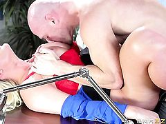Julie Cash gets throat fucked ruthlessly by Johnny Sins