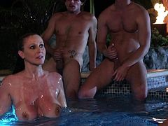 Big breasted dick hungry milf Julia Ann has a nice time sucking young hard dicks in the pool in the middle of the night. Lucky studly guys fuck her mouth with big enthusiasm and play with her massive boobs.