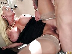 Huge tits milf fucked in bathroom
