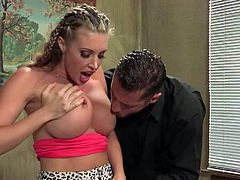 Samantha Saint is a sinfully sexy blonde with big fake boobs and round ass. She finds herself in prison after doing it with one lucky guy. This charming hot bodied woman is a breathtaker!