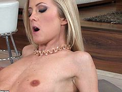 Blonde pornstars takes off her clothes to display her hot body. She has a fine ass and small natural tits topped of with nice round nipples. She loves getting her pussy licked by a random stranger.