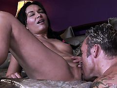 Crissy Moon has some dirty fantasies to be fulfilled with guys rock solid boner in her mouth
