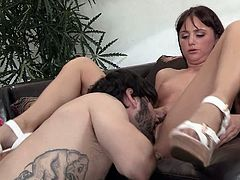 Sweet brunette Hope Howell in white shoes has sex with tattooed bearded guy. She gets her tight pussy banged in different positions after oral fun. Watch attractive girl get hardcore fucked.