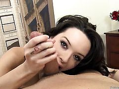 Natalie Heart shows her love for ram rod sucking in blowjob action with Will Powers