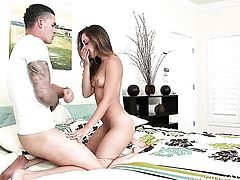 Clover touches the hottest parts of shameless Holly Hearts body before he bangs her slit