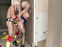 Kate Frost with gigantic hooters does her best to make hard cocked guy Johnny Sins cum