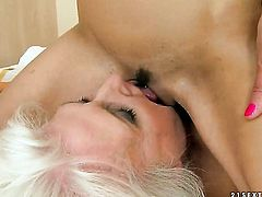 Blonde Betty Stylle and Judi have lesbian sex of their lifetime