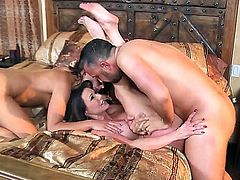 The time has come for mother Kendra Lust and father Keiran to meet their sons girlfriend. Kendra is suspicious of that young lady, because her impression is that she is a little whore. To prove her own suspicion, Kendra gets all over young girls body, after which Keiran bring his cock into the bed. Sons girl is so horny that she eats his dick with enormous excitement. After a double blowjob, they stick that stick into their meatholes, and have a lot of fun  fuckin it.