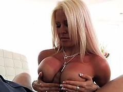 Slutty blonde with BIG ASS TITTIES impaled on huge white cock!