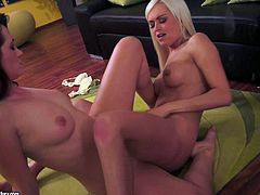 Two charming slim lesbian dolls Tess Lyndon and Lina Love show their love for scissoring in lesbian action. Brunette and blonde both with sexy long legs and perky boobs do it in front of the mirror.