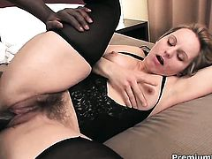 Magda keeps her legs apart to be drilled over and over again in interracial action