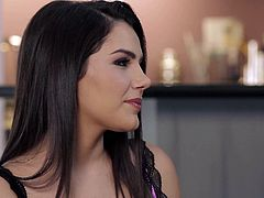 Valentina Nappi gets interviewed by Jelena Jensen in this nice video. Two beautifully dressed dark haired busty brunettes look great in their tempting lingerie. Theyll turn you on.