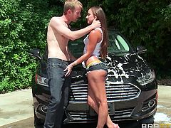 A naughty babe is washing her car, not knowing that she is watched. The guy cannot hold his cock in his pants, as the image of her lovely ass is so inciting. To spice up the atmosphere, click to see Amirah's buttocks soaped and washed... Watch this slutty babe getting on knees, to taste dick!