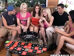 A group of six amateur playing Sex Roulette and fucking