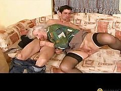 In the mouth the blonde shoves his big dick