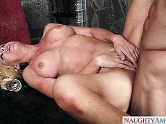 With juicy breasts and clean muff bounces on Ryan Mclanes sturdy fuck stick
