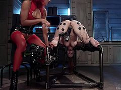 Do you like seeing horny bitches punished and experiencing in the same time a brutal orgasm? Busty Bella has been tied up, head upside down, while her long legs are widely spread and kinky electrodes are attached to her sensual body parts... Watch Daisy using a vibrator to spice up the atmosphere.
