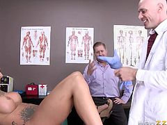 Have you ever fantasized about kinky activities happening in the hospital? A horny doctor takes advantage of this babe's naivety and after undressing her, and checking out her peachy cunt, he shamelessly bangs her from behind. See the tattooed brunette bitch with big tits getting extremely dirty!