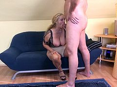 A mature lady exposes her big fantastic tits in front of her lover, making him really aroused. This blonde versed bitch seems so determined to fulfill her kinky fantasies. See her riding dick in the reverse cowgirl position and spreading her legs widely. Sucking cock looks like her priority right now.