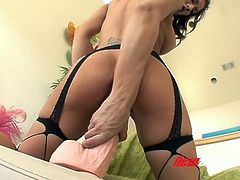 Well graced brunette sex doll in stockings Capri Cavalli loves solid solo