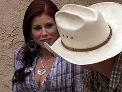Redhead Brooklyn Lee is playful country girl. She turns cowboy on with ease. He cant wait to put his hands on her sexy juicy titties. She is ready for fun too.