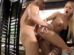 Aggressive anal pounding with a couple of high class cock whores
