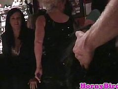 Ebony bachelorette sucks cock at party