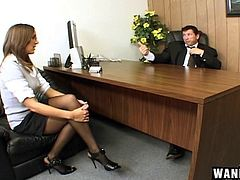 Her job interview includes throating dick and getting fucked