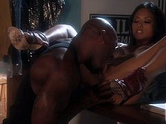 Petite oriental babe Kaylani Lei gets her hot asian pussy stretched by big black pole in interracial hardcore action. She takes chocolate cock balls deep in her tiny love hole.