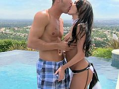Alektra Blue is a sexy maid in black stockings and she is going to have her tight and orgasmic twat smashed real hard by the swimming pool by her boss. She even fucks for money, nice
