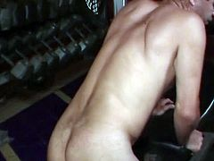 Blond babe fucking his ass with toy