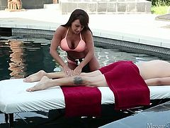 Huge breasted brunette in bikini massages and jerks off dick