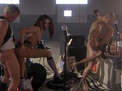 Passionate sluts Lichelle Marie and Kirsten Price with with long legs and perfect boobs show their assets and get their tight fuck holes drilled by rock stiff cocks in unthinkable sex orgy.