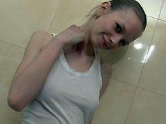 Petite Teen Shows Off in the Bath