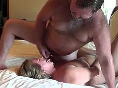 wife runs with the sperm of her husband in the face