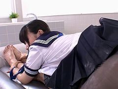 He has always wanted a young Japanese girl to pamper him totally, and Cocoa is fulfilling that fantasy for him. The teen's lover body is covered with latex and oil, and she slides all over his dick, making him hard. She talks dirty, while she sucks him, then tears a hole so, she can get him inside her.