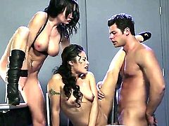 2 girls and a guy are here to have a threesome. Is there anything better then watching two hot women bicker about which one will have the cock.