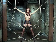 It is practically impossible for this hot, but helpless babe, to liberate herself from the strongly tied up ropes... Chanel wears a ball gag and her dirty pussy is fingered deep by a dominant guy. While being a prisoner in the dark empty basement, this sexy slut is about to experience indescribable pleasure.