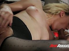 Hot blooded stud fucks slutty blond secretary Lily LaBeau in the office hard