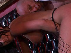 Perfect bodied busty stripper Brandy Aniston bares her killer assets in the club and gets her totally fuckable pussy stuffed by dirty bald guy. She rides his rod like a sex crazed animal!