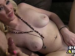 Hot blonde touches herself and dick