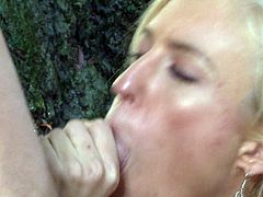 Pretty blonde girl Victoria White with natural boobs opens her legs sitting on a big stone and gets her sweet pussy eaten out by hot guy in steamy outdoor action. She he puts his hard dick in her mouth.