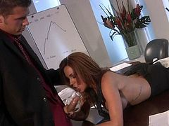 Cock hungry breathtaker Kirsten Price bares her nice melons and gets her mouth stuffed in steamy office porn. She polishes guys meat pole with her hot lips and makes him explode.