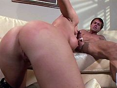 Busty MILF blonde Brooke Haven with huge boobs and onion booty shows off her assets as she sucks and rides fat dick in this hot scene. Shes a fuck hungry woman with killer body.