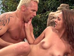 Sexy slim babe Poppy Morgan with stunning long legs and natural boobs gives suck job and gets her tight snatch tongue fucked by white-haired guy in outdoor scene. Shes a sex hungry slut!