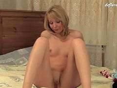 Pure blonde beauty wants you to see her hymen