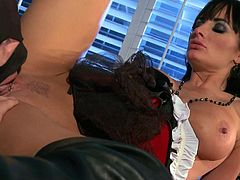 Alektra Blue is a black haired yummy mummy and she is going to show this young boy how does she deep throat a long and throbbing cock. She takes him well, as well